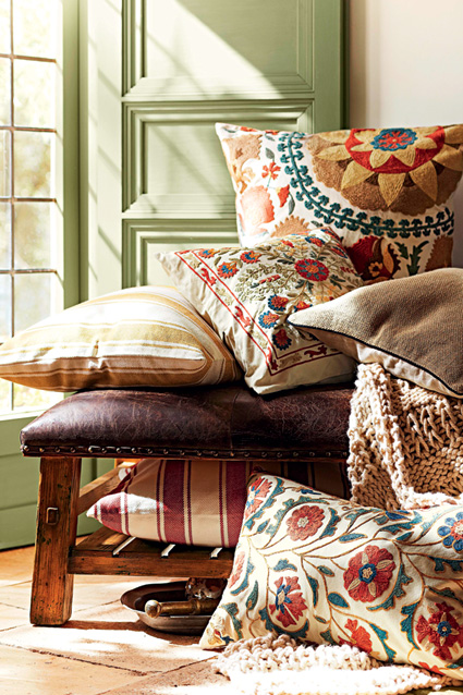Artisan-made embroidered cushions from Pottery Barn.