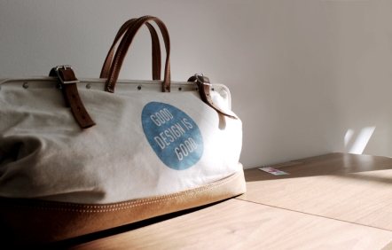 A printed canvas bag by Blu Dot captures the essence of Indesign.