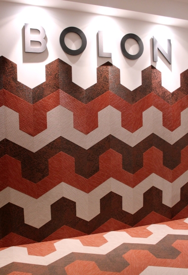 Swedish textile company Bolon's installation at Corporate Culture, fitted out with its signature textile-alternative flooring.