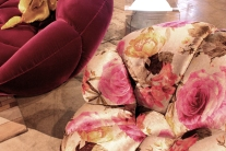 Velvety floral berry-coloured armchairs at the Bretz stand in the Galleria exhibition space