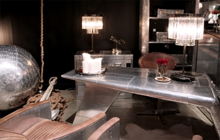 Timothy Oulton's 'Valkyrie' desk (styled with the 'Valkyrie Tom Cat' chairs and 'Greenwich' chair) makes an impression at Coco Republic.