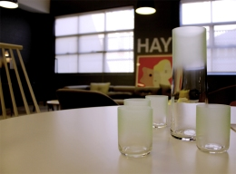 Opaque-to-transparent gradients adorn glassware by Scholten & Baijings in the Hay section of Cult's showroom.