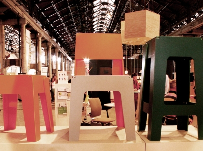 'Butter Stool', 'Butter Chair' and 'Butter Bar Stool' at DesignByThem's stand at the Indesign Galleria exhibition space.