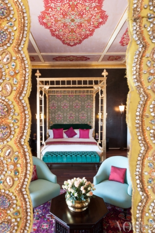 A guest room in the Taj Palace from 'Palace in the Sand' on page 193. Photograph by Tony Amos.